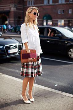 white shirt, plaid skirt