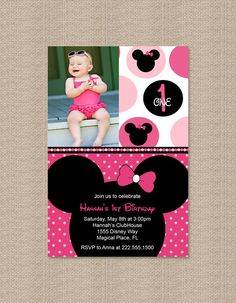 Polka Dot Minnie Mouse Birthday Party Invitations by Honeyprint, $15.00