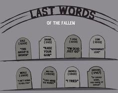 Les derniers mots des personnages morts