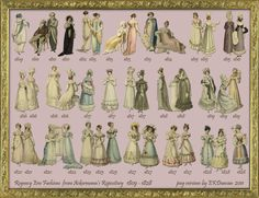 Progression of Regency Fashion in Jane Austen's Adult Life Regency Fashion, Victorian Fashion, Vintage Fashion, Victorian Dresses, Steampunk Fashion, Medieval Fashion, Victorian Gothic, Gothic Lolita, Gothic Fashion