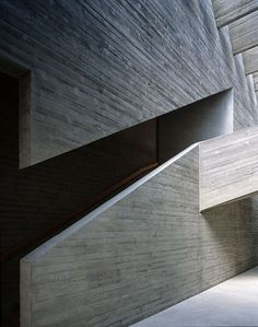 Angled concrete building stairway