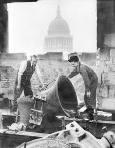 The two bells of St. Mary-le-Bow church, London, as left after an air-raid. - June-1941