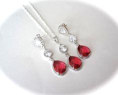 Ruby Red jewelry set  Long teardrops  Czech by QueenMeJewelryLLC