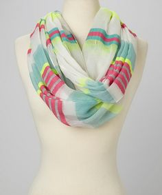 Love this Lime & Pink Stripes Infinity Scarf by SAKA on #zulily! #zulilyfinds