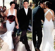 Actress Amy Acker, married James Carpinelloon April 25, 2003. Amy wore a sheath gown by Reva Mivasagar and carried a bouquet of red roses, chocolate cosmos, and crystals.