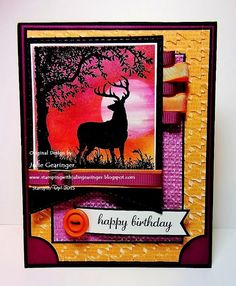 "Stamping with Julie Gearinger: Nature Silhouettes- A Masculine Birthday Card; Stampin' Up! ""Nature Silhouettes"" and ""Express Yourself"" with the RTS191 Sketch, 4 CC #274 Masculine Theme and WT559 ""Leftovers""  Challenges :-)"