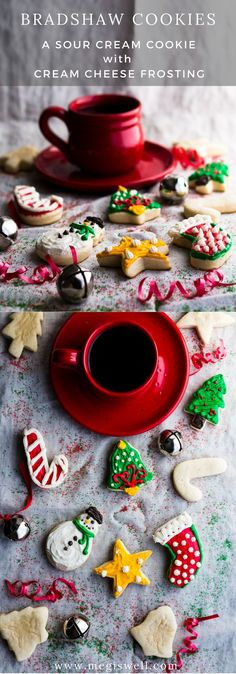 Bradshaw Cookies are a type of sour cream cookie with cream cheese frosting. Soft, pillowy, and not very sweet, they are perfect for cutting out into seasonal shapes and decorating with frosting. | #Christmas #holidays #cutouts | www.megiswell.com