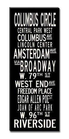 UPPER WEST SIDE, New York City,  Large 24x60 Gallery-Wrapped Canvas Subway Art