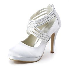 Oomph 4 inch Ankle Straps Rhinestones Almond Toe Pumps