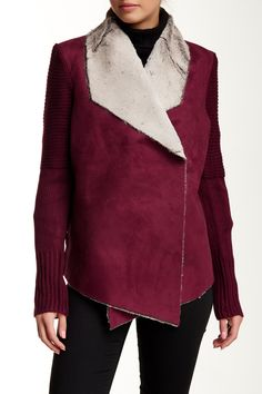 BNCI by Blanc Noir - Faux Suede & Faux Shearling Sweater Jacket at Nordstrom Rack. Free Shipping on orders over $100.
