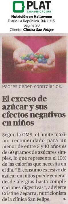 Clínica San Felipe: Nutrición en Halloween en Diario Uno de Perú (04/11/15)