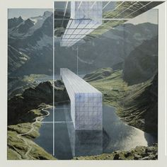 The Continuous Monument: Alpine Lakes, project, Perspective. Superstudio, Collection of the MOMA. Architecture Drawings, Landscape Architecture, Architecture Design, Paper Architecture, Architecture Graphics, Architecture Portfolio, Layout Design, Web Design, Modern Design