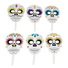 Day Of The Dead Stick Masks - OrientalTrading.com