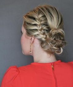 This pretty style, created for Real Simple by The Small Things blogger Kate Bryan, calls for a French braid on one side of the head.