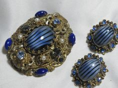 VINTAGE ART GLASS CABOCHON RHINESTONE PIN EARRING SET BLUE #UNBRANDED