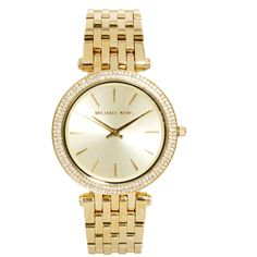 Shop Michael Kors Darci Gold Watch at ASOS. Michael Kors Gold, Michael Kors Watch, Watch Necklace, Bracelet Watch, Casual Watches, Diamond Are A Girls Best Friend, Stainless Steel Watch, Gold Watch, Diamond Rings