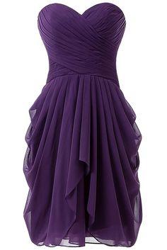 HONGFUYU Women's Ruched Evening Party Bridesmaid Dress Short Prom Dresses Purple UK6