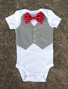 Baby Boy Christmas Shirt - Custom Tuxedo Onesie or Tshirt - Polka Dot Red Bow tie - ANY COLOR Vest and buttons - Perfect Christmas Outfit or sunday church outfit! Boys Christmas Shirt, Baby Boy Christmas, Valentines For Boys, Valentines Day Shirts, Baby Boy Outfits, Kids Outfits, Custom Tuxedo, Easter Shirts For Boys, Baby Sewing
