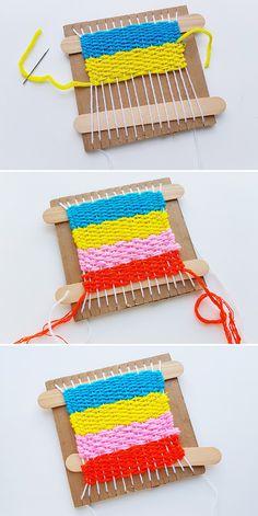 Easy Yarn Crafts, Yarn Crafts For Kids, Craft Projects For Kids, Craft Activities For Kids, Craft Stick Crafts, Fun Crafts, Weaving For Kids, Weaving Art, Loom Weaving