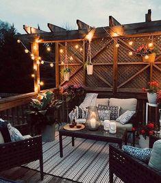 51 Ideas For Small Backyard Patio Furniture Side Yards Backyard Sitting Areas, Small Backyard Patio, Backyard Pergola, Diy Patio, Outdoor Deck Lighting, Outdoor Decor, Small Patio Furniture, Furniture Ideas, Deck With Pergola