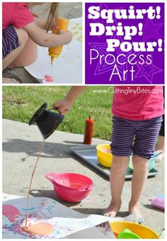 Process Art Painting For Kids. Head outside for some messy painting fun for spring our summer. Preschoolers, kindergarteners, and elementary students will LOVE this opportunity to make giant process art. Fine Motor Activities For Kids, Preschool Art Activities, Preschool At Home, Learning Activities, Preschool Activities, Outdoor Activities, Preschool Classroom, Classroom Resources, Outdoor Games