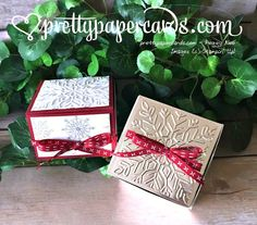 Stampin' Up! Christmas Gift Box, Holiday Gifts, Christmas Crafts, Christmas Ideas, Paper Cards, Paper Boxes, Make A Gift, Easy Gifts, Stamping Up