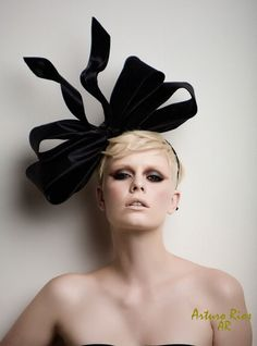 Couture Bow fascinator- fashion headpiece- fascinator. $195.00, via Etsy.