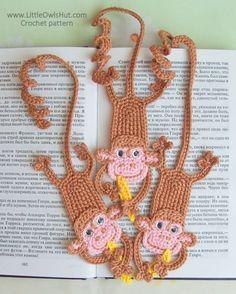 029 Monkey Bookmark Amigurumi Crochet Pattern by LittleOwlsHut: inspiration! Combine crochet & felt for a quiet book page.