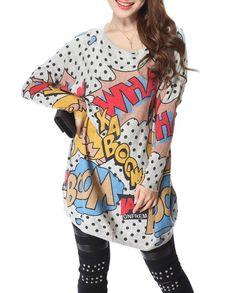4166af1beb12 ELLAZHU Women Baggy Comic Print Knit Pullover Sweater Onesize Grey -- Click  image for more details.