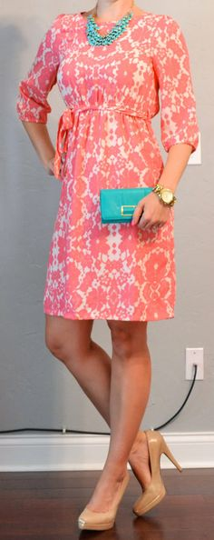 Outfit Posts: peach floral dress, teal accessories  outfitposts.blogspot.com