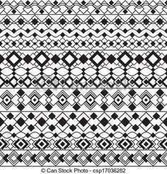 Vector of Art Deco Borders in Black and White - Seamless pattern ...