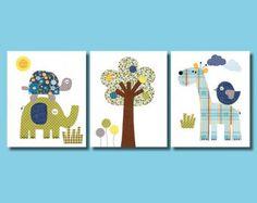 Elefante buho Ave vivero arte imprimir bebé habitación