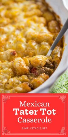 This Mexican Tater Tot Casserole was a hit with my family! It was spicy, hearty and tasty. Comfort food for the win. Grilled Chicken Recipes, Pork Recipes, Cooking Recipes, Kraft Recipes, Recipies, Dessert Recipes, Cheesy Recipes, Easy Healthy Recipes, Vegan Recipes