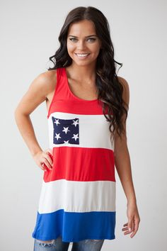 Magnolia Boutique Indianapolis - Stars and Stripes Tunic - Red/White/Blue, $29.00 (http://www.indiefashionboutique.com/stars-and-stripes-tunic-red-white-blue/)