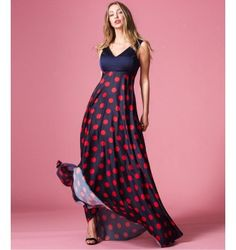 Maxi Φόρεμα Δίχρωμο με Βε - Πουά - Μπλε-Navy Fashion Outfits, Dresses, Vestidos, The Dress, Dress, Gowns, Clothes, Dressy Outfits, Dress Outfits