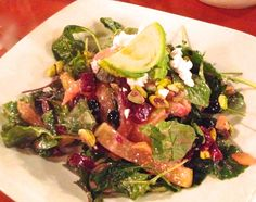 """Red Rock Brewing Company, Park City, UT...a  fresh salad with """"superfood"""" ingredients,  baby kale, arugula, watercress, goat cheese roasted yellow and red beets, avocado,..."""