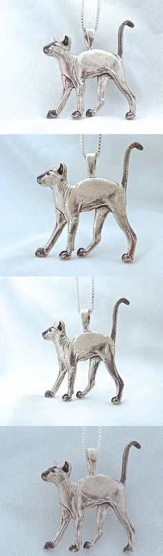 Cat Lover Products 117422: Sterling Silver Cat Pendant Siamese Peterbald Charm Life Like Kitten Fazio 925 -> BUY IT NOW ONLY: $129 on eBay!