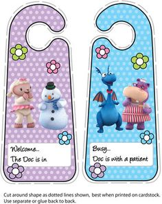 Door Hangers, Doc McStuffins, Door Hangers - Free Printable Ideas from Family Shoppingbag.com