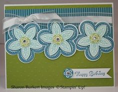 Stampin Up's triple treat stamp punched using coordinating punches--horizontal card.