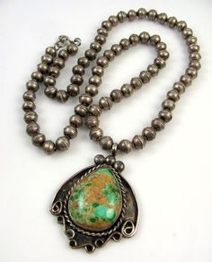 Old Pawn Navajo Sterling Silver Royston Turquoise Bead Necklace | J AI