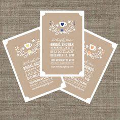 High Tea Bridal Shower Invitation - Tea Party Invite for bachelorette - Kraft Paper Style - Printable pdf. $18.00, via Etsy.