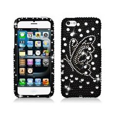 Diamante Rhinestone Case and Screen Protector for iPhone 5 (Butterfly)
