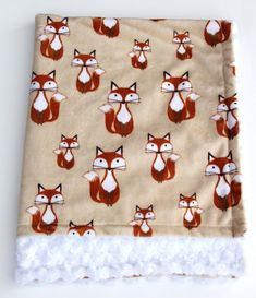 Fox Baby Blanket Minky Fox Blanket Woodland Baby by mylittlemookie
