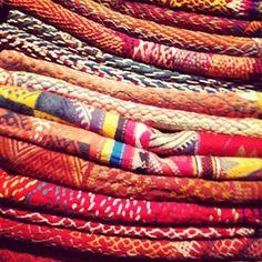 stack of vintage textiles at john robshaw taken by krista nye schwartz of cloth & kind #instagram #fabric #vintage