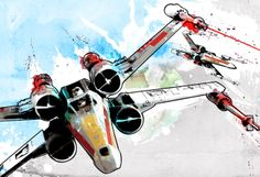 Star Wars X-Wing fighters illustation - Art print size 13x19. $50.00, via Etsy.