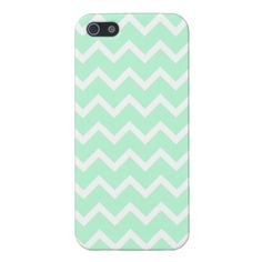 Mint Green Zigzag Stripes. iPhone 5 Cases