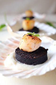 Irish scallops with black pudding and cauliflower cream