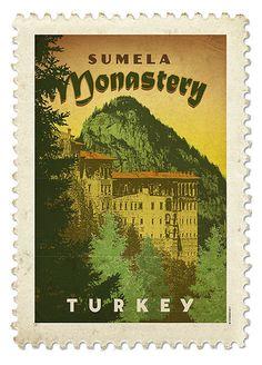 Vintage Travel Poster Sumela Monastery