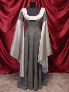 Gowns Pagan Wicca Witch:  Champagne and Teal Medieval #Gown.