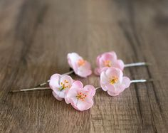 Pink cherry blossom hair clips. A set of five (5) bronze bobby pins with pink cherry blossom flowers. Each flower I created by hand of cold porcelain. READY TO SHIP  ♡ MEASUREMENTS: • flowers are approx. 2,2-2,5 cm (0.87-0.98 inches) in diameter  ♡ Flowers are not absolutely waterproof. They are gentle, realistic and require careful handling. Please avoid any contact with water!  ♡ More blossom: http://etsy.me/1ojbh9h  ♡ Please read shop policies before placing an order: http:&...